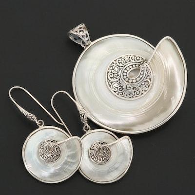 Samuel B. Sterling Silver Nautilus Shell Pendant and Dangle Earrings Set
