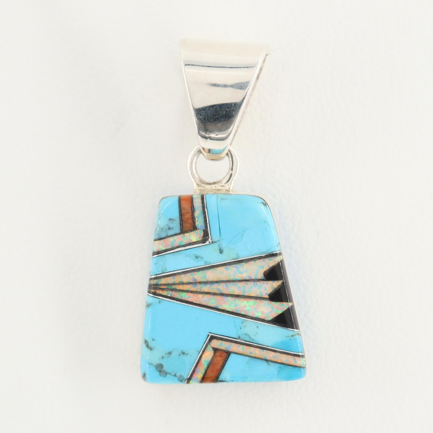 Southwestern Style Sterling Silver Turquoise, Coral, and Synthetic Opal Pendant