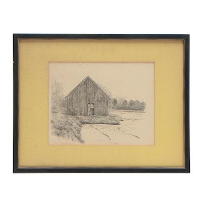 Richard Fish Lithograph of Weathered Barn
