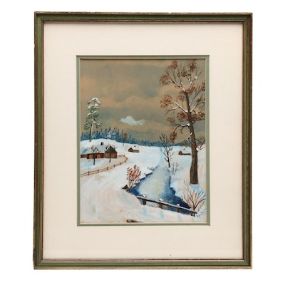 Rautsaw Watercolor Painting of Rural Landscape