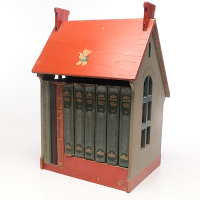 """Early """"My Bookhouse"""" and """"My Travelship"""" Set with Wooden House Display"""