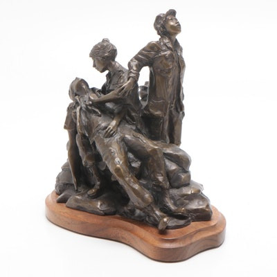 "Glenna Goodacre Bronze Maquette Sculpture ""Vietnam Women's Memorial"""