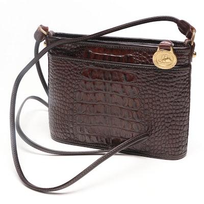 Brahmin Crocodile Embossed Brown Leather Crossbody Bag