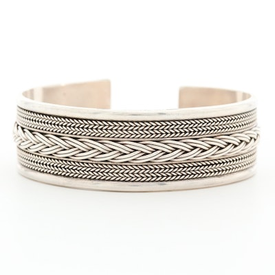 Sterling Silver Braided Accent Cuff Bracelet