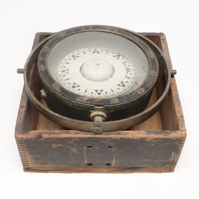 """J. C. Krohn & Son """"Bergen"""" Compass in Wooden Box, Late 19th/Early 20th Century"""