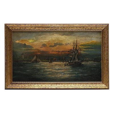 19th Century Nautical Oil Painting
