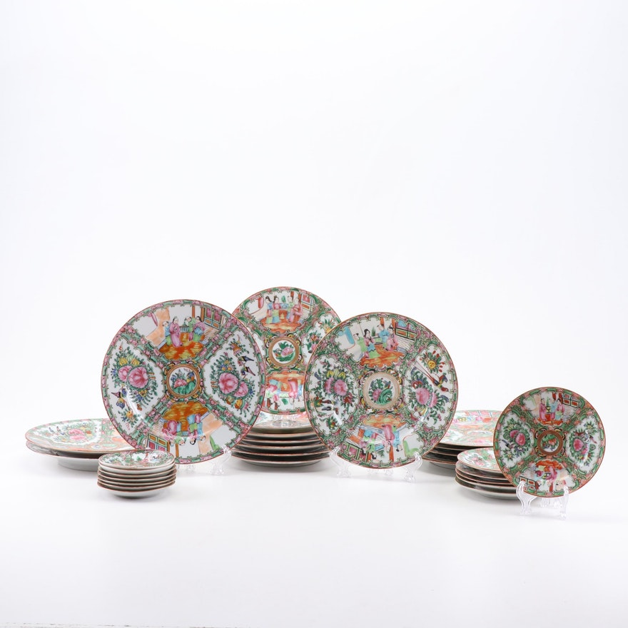 "Chinese Export ""Rose Medallion"" Porcelain Tableware, 19th and Early 20th Century"