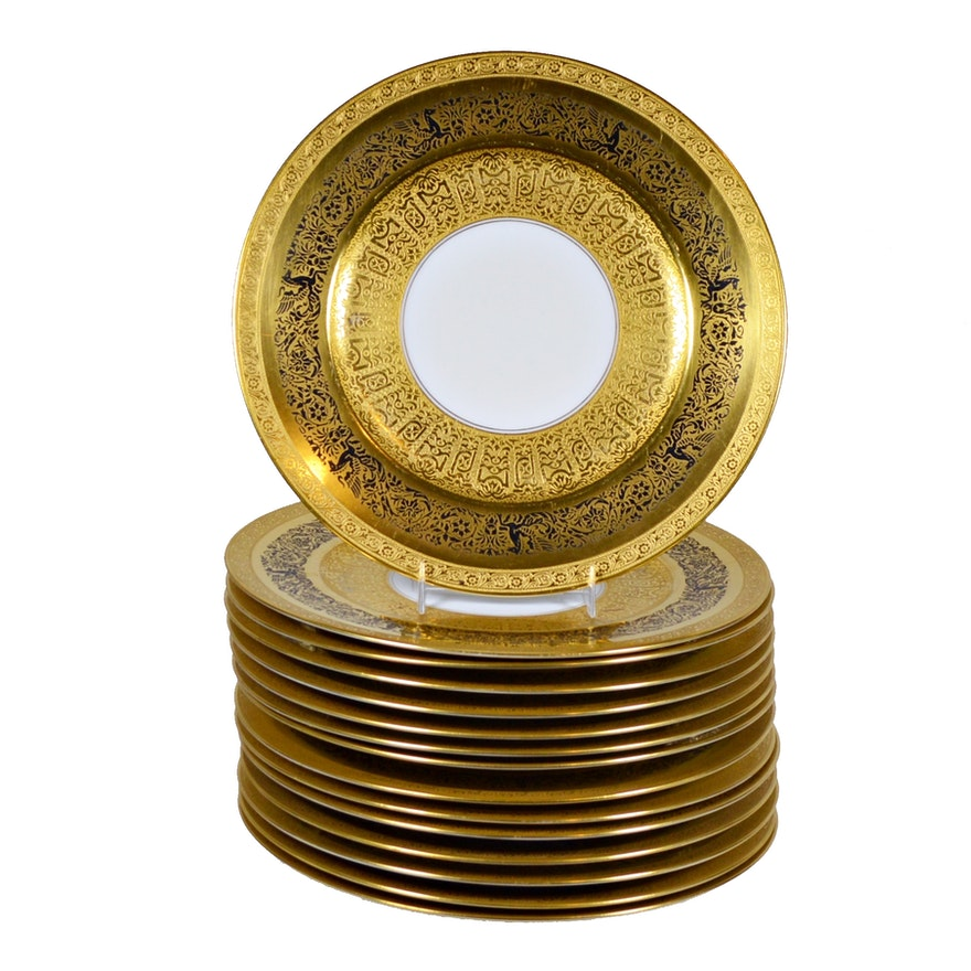 Hutschenreuther for Frank Herschede Gold Encrusted Porcelain Dinnerware