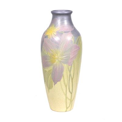 """Weller """"Hudson Light"""" Pastel Floral Vase, 1920s-1930s"""