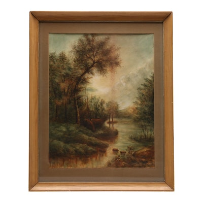 E. Kerns Watercolor of Forest, Lake and Deer