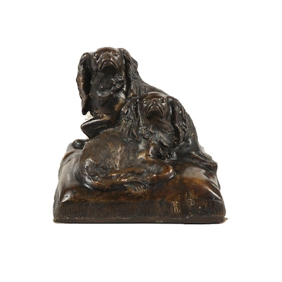"Bronze Sculpture after Charles Valton ""King Charles Spaniels"""