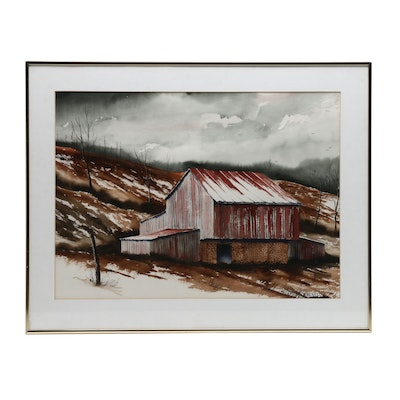 Earnest Williams Watercolor Painting of Rural Barn
