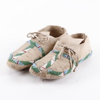 Northern Plains Native American Beaded Moccasins, ca. 1930