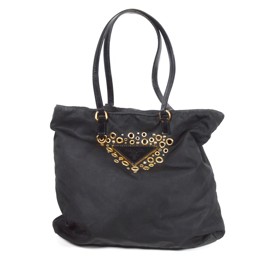 Prada Black Tessuto Nylon Logo Grommet Shoulder Bag