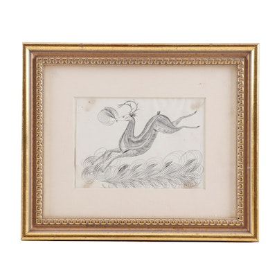 Folk Art Calligraphic Drawing of Stag, Mid-19th Century