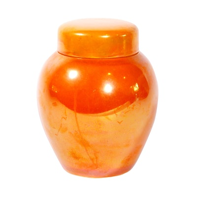 Moorcroft Uranium Orange Lustre Glazed Ginger Jar, Vintage