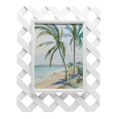 Watercolor Painting of Tropical Coastal Scene