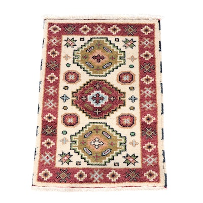 Hand-Knotted Indian Kazak Wool Rug