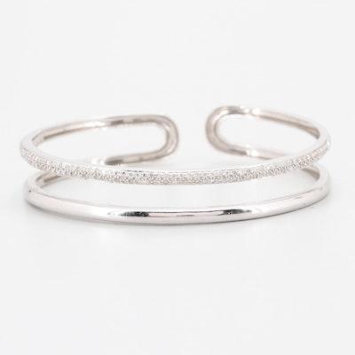 14K White Gold Diamond Hinged Cuff Bracelet