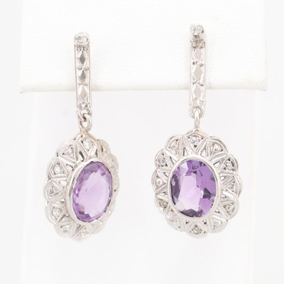 14K White Gold 4.20 CTW Amethyst and Diamond Earrings
