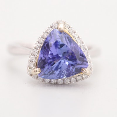14K White Gold 4.00 CT Tanzanite and Diamond Ring
