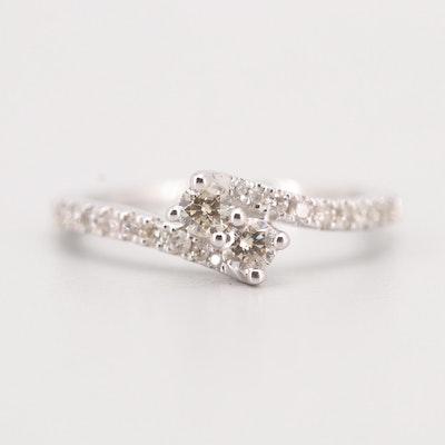 14K White Gold Diamond Bypass Ring