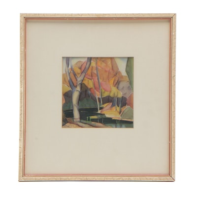 Glen Tracy Abstract Watercolor Painting of Landscape