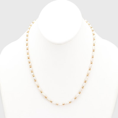 14K Yellow Gold Bead and Freshwater Rice Pearl Necklace