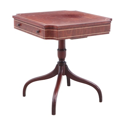 Regency Style String Inlaid Mahogany End Table, Mid-20th Century