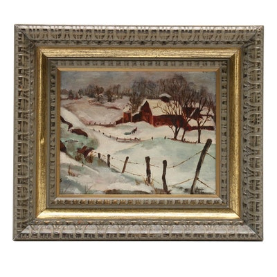 Late 20th Century Winter Landscape Oil Painting