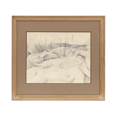 Gerry Bedel Abstract Graphite Drawing of Women in Landscape