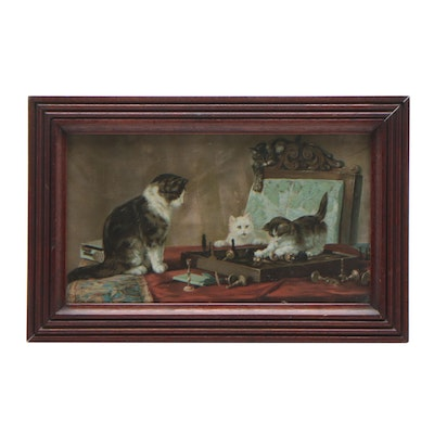 Turn-of-the-Century Chromolithograph of Kittens