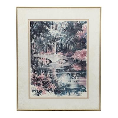 """Josie Van Gent Edell Offset Lithograph """"Magnolia Gardens"""""""