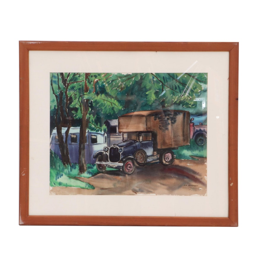 Watercolor Painting of Automobile in Landscape