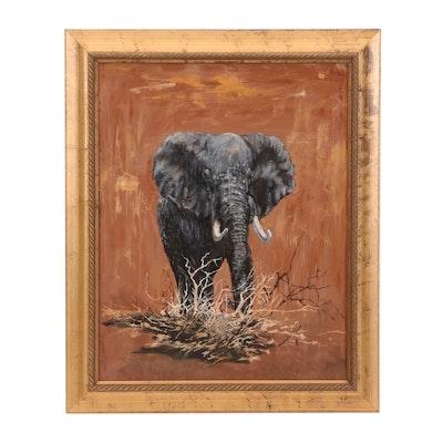 "Robert Schoellkpf Oil Painting ""Rogue Elephant"""