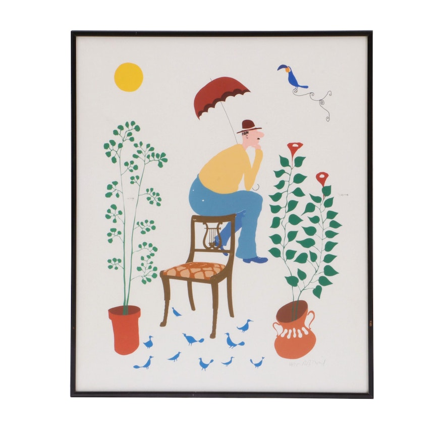 Serigraph Illustration of Man with Chair and Plants