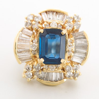14K Yellow Gold 5.00 CT Sapphire and 3.20 CTW Diamond Ring