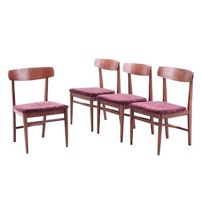 Set of Four Mid-Century Walnut Side Chairs