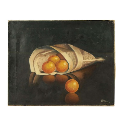 Realist Still Life Oil Painting of Oranges in Newspaper