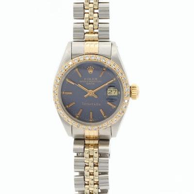 Rolex Date For Tiffany & Co. Two Tone Wristwatch With Diamonds, 1979