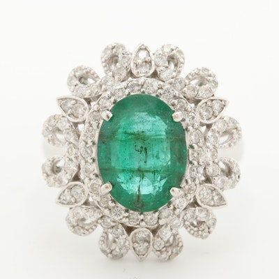14K White Gold 2.84 CT Emerald and 1.21 CTW Diamond Ring