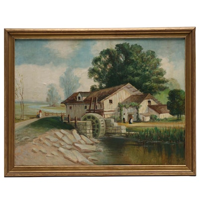 Landscape Oil Painting of River Scene with Watermill