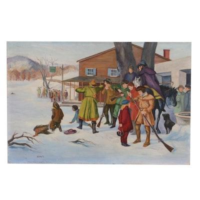 M.G. White Oil Painting of Winter Hunt Scene