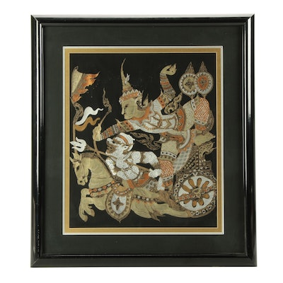 """Thai Block Relief Print with Hand-Painted Details of """"Ramakien"""" Scene"""