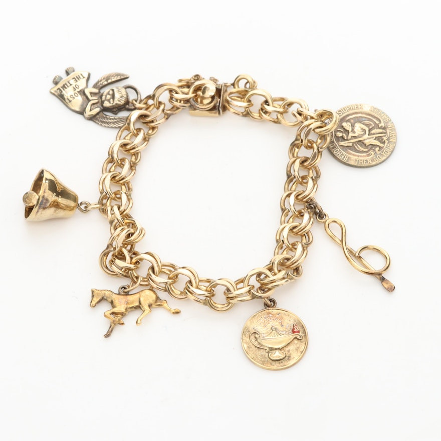 12K Gold Filled Bracelet with Sterling Silver and Enamel Lamp Flame Charms