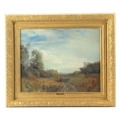 Franklin De Haven Oil Painting of Pastoral Landscape with Ox-Drawn Cart