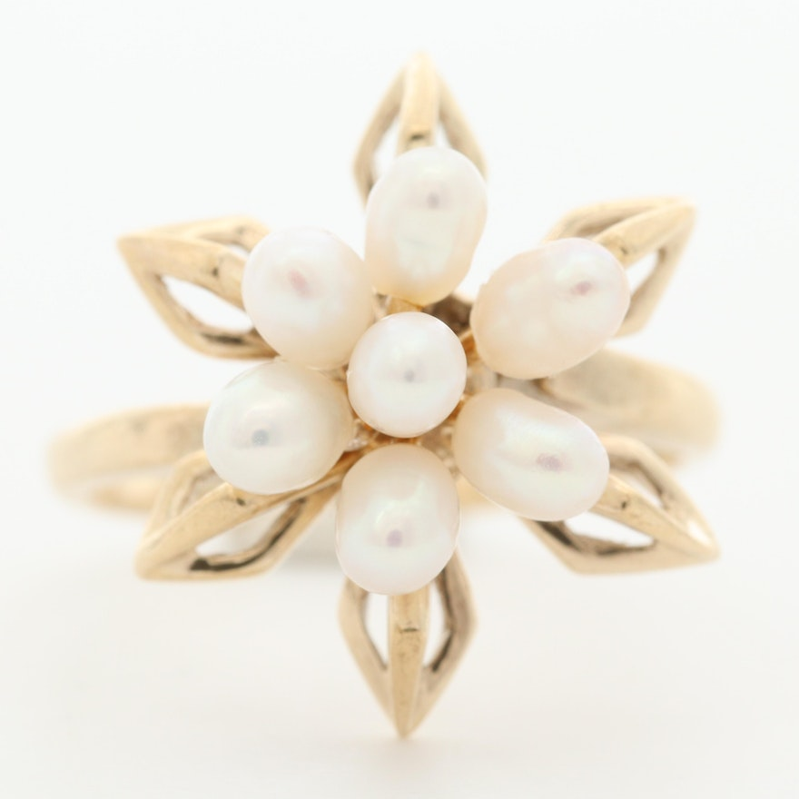 10K Yellow Gold Cultured Pearl Flower Ring