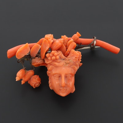 Victorian Coral Assemblage Brooch