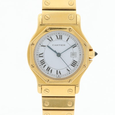 Cartier Santos Octagon 18K Yellow Gold Automatic Wristwatch