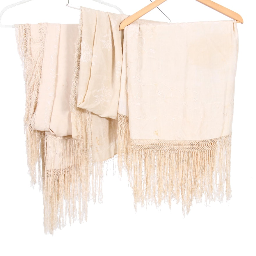 Embroidered Cream Silk Piano Shawls with Fringe, Early to Mid-20th Century